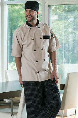 black trim buttons Lightweight Chef Coat  #505 MED LRG ~PICK~Happy Chef White