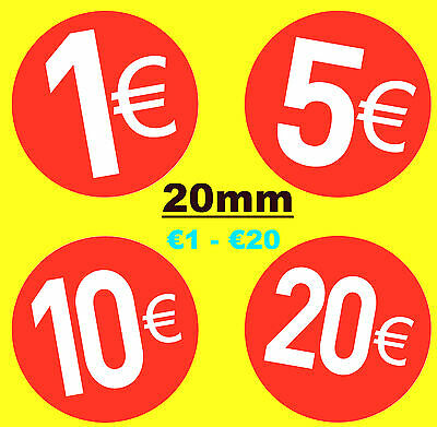 20mm Bright Red Euro € Price Point Stickers - Sticky Labels - Swing Tag Labels