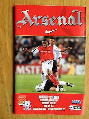 Arsenal v Everton 2000/01 programme