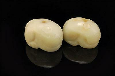 2 Large Antique Chinese Carved White Soapstone Cat Shape Beads