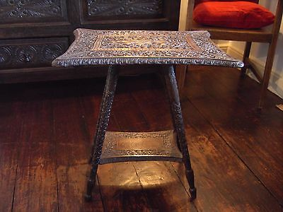 Stunning Rare Indian Afghanistan Carved Buddha Deity Small Side Table Antique