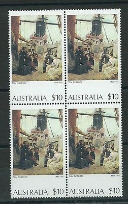 Stamps Australia Paintings Sg567A $10 Block Of 4 Mnh Coming South By Tom Roberts