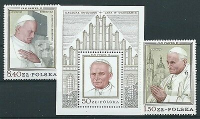 Stamps Poland Sg 2616, 2617, Ms2618  Pope John Paul Ii 1979 Mnh