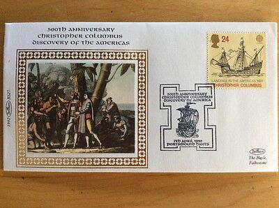 Benham First Day Stamps, 500th Anniversary Christopher Columbus, Silk Cover