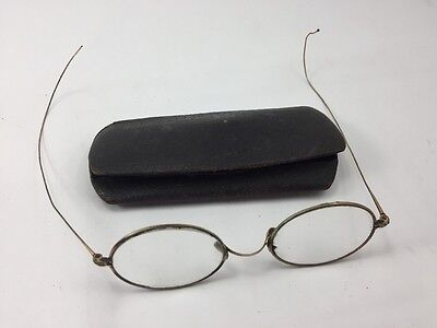 Vintage 10K Gold Wire Rim Oval Children's Eyeglasses with Case Antique Youth
