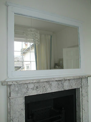 Large Vintage Over mantle Painted Mirror Shabby Chic Farrow and Ball All White