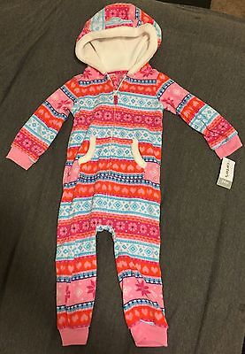 Carter's Baby Toddler Girl One-Piece Hooded Fleece Outfit Fair Isle Sz 24 Months