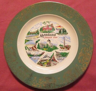 """Vtg Coll.State Plate-Montana""""Treasure State""""- 10"""" Muted Green Band-Gold Trim"""