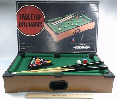 "Grand Star Tabletop Billiards Pool Table 20x12x3.5"" Complete in Box"