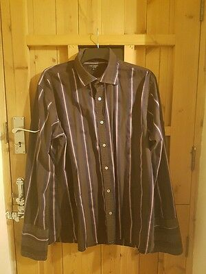 Ted Baker slim fit fitted Brown Striped shirt size 6 XL extra large