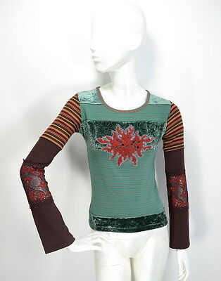 Save the Queen Womens Top Blouse Long sleeve Velvet/Lace Details size S