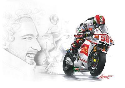 """Marco Simoncelli LARGE 30"""" X 20""""  Moto GP Honda Framed Picture Canvas VERY RARE"""