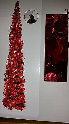 RARE Prelit Red Tinsel Pop Up Collapsible Christmas Tree 100 Clear Lights NEW