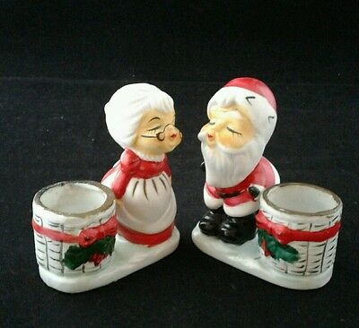 Set Kissing SANTA MRS CLAUS Christmas Candle Holders Little Luvkins Porcelain