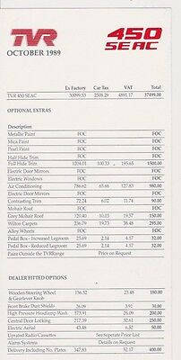 TVR 450 SEAC Price List - Dated October 1989 - mint condition