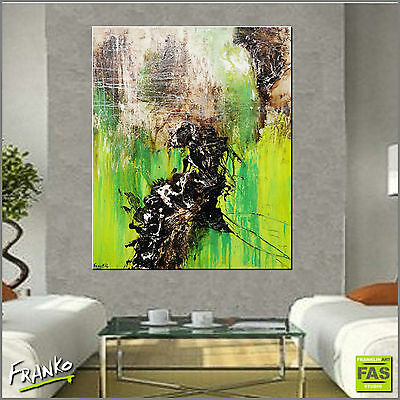Modern Green Textured Abstract Painting Art Canvas 120cmx100cm Franko Australia