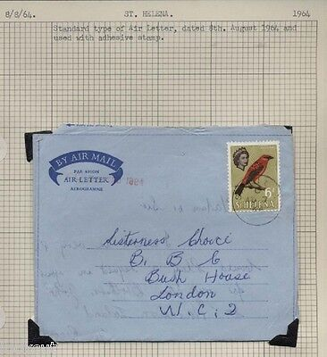 TWO ST. HELENA STANDARD AND PRIVATELY PRINTED 6d  STAMP USED AIRMAIL 1964