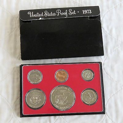 USA 1973 s 6 COIN PROOF YEAR SET WITH DOLLAR - sealed/outer