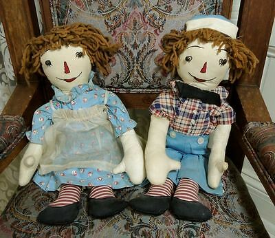 Vintage 1935-1945 Hand Made OOAK Raggedy Ann & Andy Dolls Brown Hair Sewn Faces