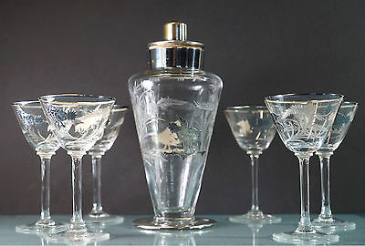 Vintage Cut Glass and Silverplate Martini Decanter and Six Goblets Rooster Desig