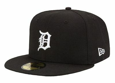 DETROIT TIGERS Black-White New Era 5950 Cap 59Fifty MLB Baseball Fitted Hat