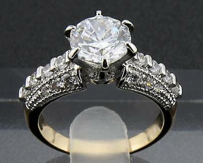 3.36 CARAT Natural DIAMOND 14KT SOLID YELLOW GOLD RINGS 6#