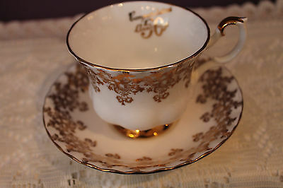 ROYAL ALBERT TEACUP AND SAUCER - 50th CONGRATULATIONS ANNIVERSARY