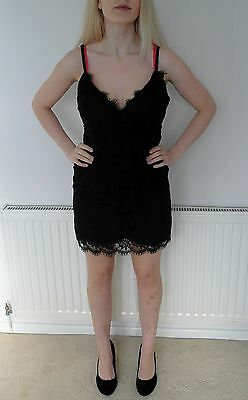 Sexy Lace Little Black Dress Size 14 New Look Cameo Rose Party Clubbing Mini UK