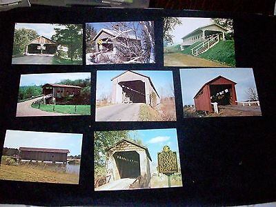 Covered Bridges Postcards Lot of 8 Vtg 50's-70's IN IL OH VT Unposted