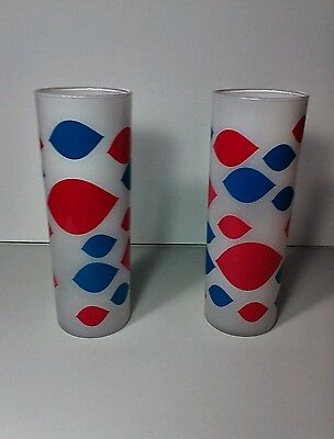 """(2) VINTAGE DQ DAIRY QUEEN FROSTED GLASSES with red and blue lips logos 7"""" tall"""