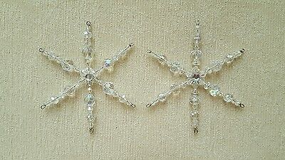 Two Glass Beaded Snowflake Christmas Ornament Suncatcher Decorations *11
