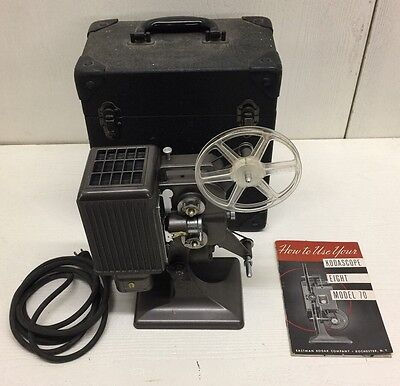 TESTED WORKING CLEAN Kodascope Eight Model 70 8mm Movie Film Projector & Case