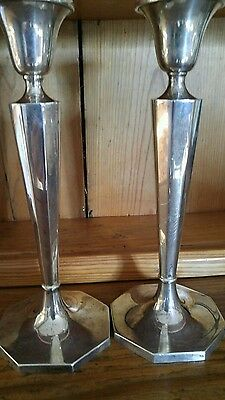 "Baldwin miller sterling silver candlesticks good useable condition 10""  B&M"
