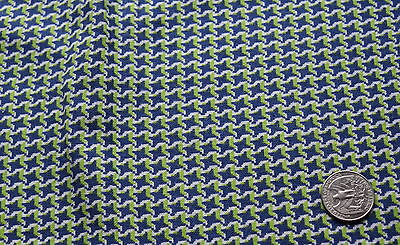 Large piece of vintage Feed Sack, small scale houndstooth check in navy, light g