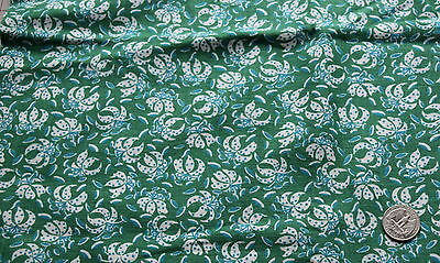 Large piece of vintage Feed Sack, Dark green with white lilies, blue dots