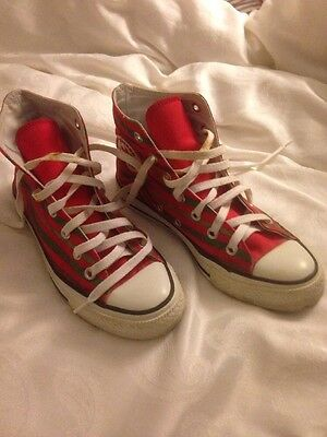 Red & Green Converse High Tops Size 5