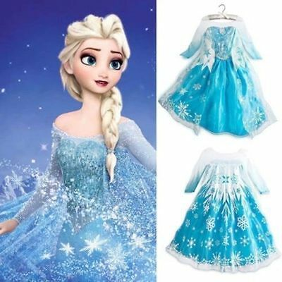 Girls Frozen Inspired Princess Dress Anna Elsa Party Fancy Dress Costume 2Y-9Y A