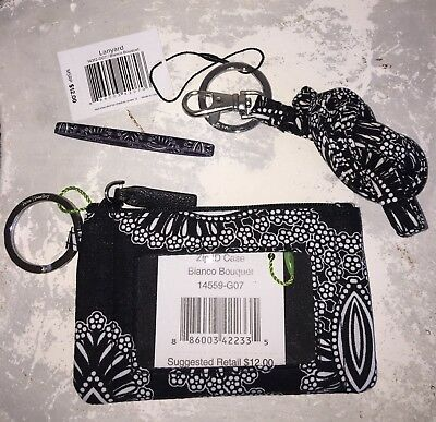 VERA BRADLEY Zip ID Case & Lanyard Badge Key Ring BLANCO BOUQUET NWT + Elastic