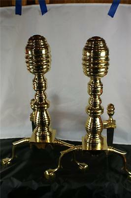 Solid Brass Harvin, Virginia Metal Crafters Fireplace Andirons Beehive Tops
