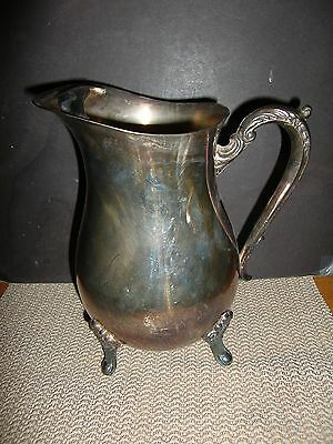 VTG SILVER PLATE WATER PITCHER BY LEONARD SILVER CO. w/ICE GUARD-2 QTS. REPAIRED