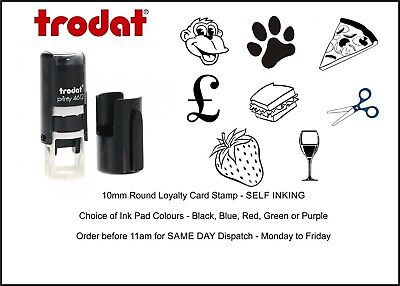 Loyalty Card Rubber Stamp 10mm Circle ideal for Cafe Bars Coffee Shop Salon