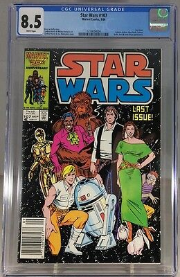 Star Wars #107 CGC 8.5 VF+ white pages RARE Marvel Comics last/ final issue Leia