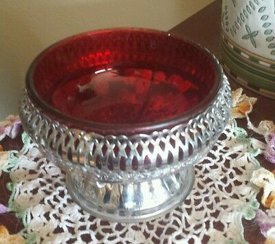 Vintage Ruby Red Glass and Silver Candy or Trinket Dish