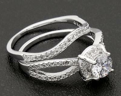 2.44ct  Genuine  Diamond 14kt White Gold  Couple  Rings Size8
