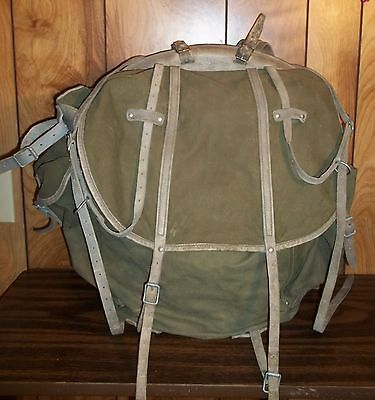 VINTAGE NORWEGIAN MILITARY RUCKSACK BACKPACK GREEN CANVAS Gray Leather