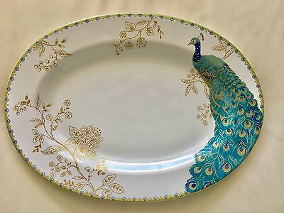 New 222 Fifth Peacock Garden Large Serving Platter 10 x 14 Elegant Party Holiday