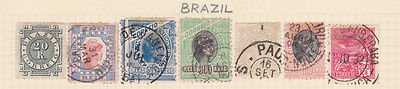 BRAZIL - 7 Stamps as shown - Hinged on paper