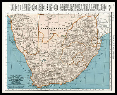 UNION of SOUTH AFRICA Cape Town Africa 1945 antique color lithograph Map