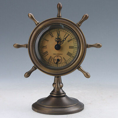 Collectible Old Chinese Brass Handwork Mechanical Table Clock Z101