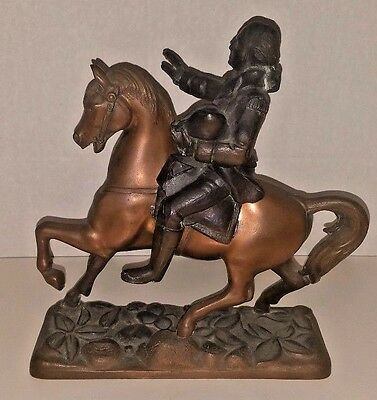 Antique Vintage Cast Metal Spelter Horse w/Washington Statue Clock Topper